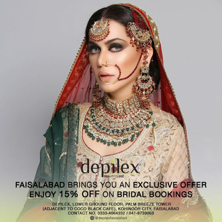 Bridal Booking at 15% OFF - Depilex Faisalabad